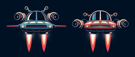 Sci-fi Spaceship flying