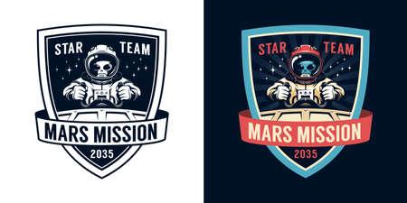Astronaut retro emblem with alien pilot