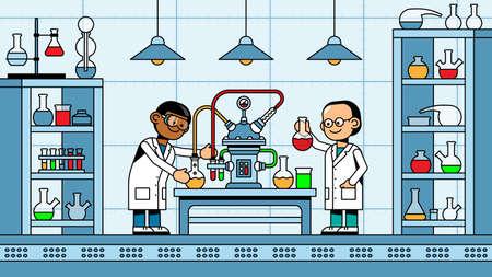 Scientists chemists make an experiment in chemical laboratory Ilustração