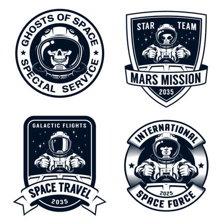 Space badge set with spaceship pilot and alien