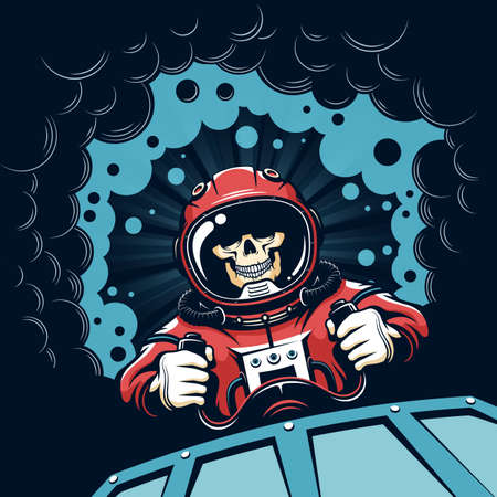 Space poster with skull astronaut in vintage style Ilustração