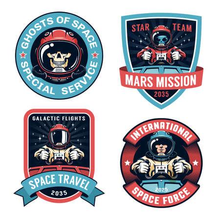 Space badge set with Astronaut Ilustração