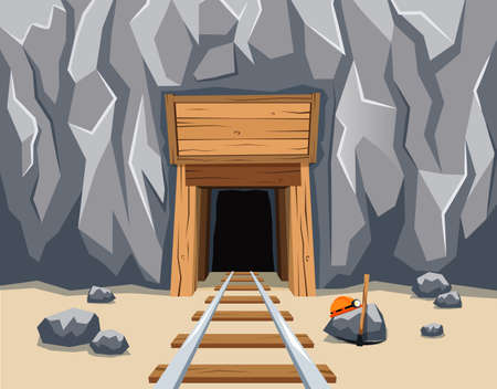 Gold mine entrance with rails