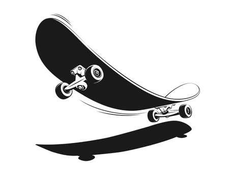 Skateboard in retro style vintage print. 3D Skate in stamp style. Ilustração