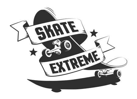 Skateboard retro logo with ribbon Ilustração