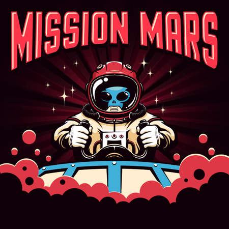 Mission Mars retro poster with alien pilot