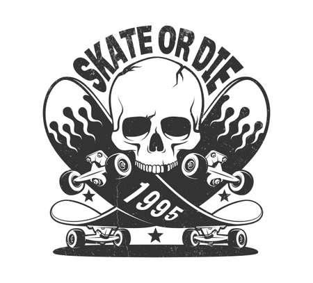 Skate or die vintage logo with skateboard and skull Ilustração