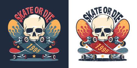 Skateboard and skull retro logo
