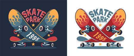 Skate park retro logo with funny skateboard Ilustração