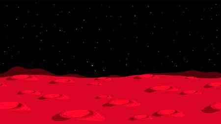 Mars cartoon landscape with craters Ilustração