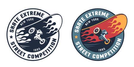 Skate extreme round retro logo with skateboard Ilustração