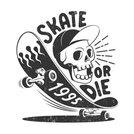 Skate or die retro logo Ilustração