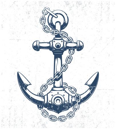 Vintage anchor with grunge texture Ilustração
