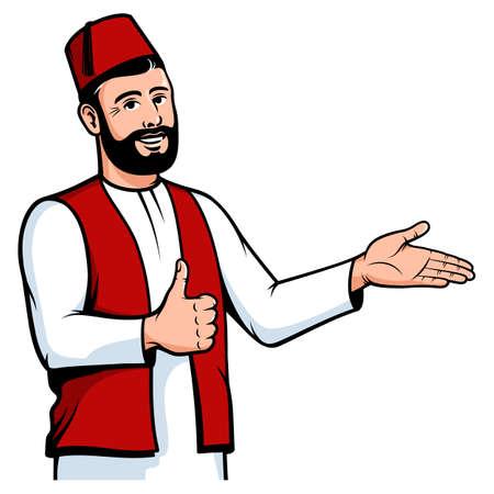 Positive Turkish man in fez welcome gesture Ilustração