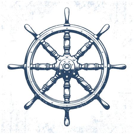 Ships wheel vintage grunge vector illustration