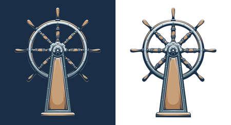 Retro style ship wheel Ilustração
