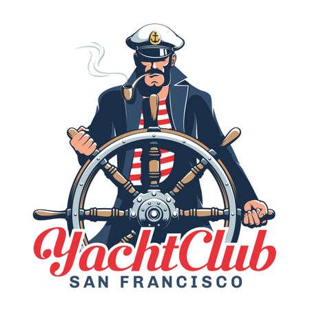 Captain hold helm - yacht club emblem