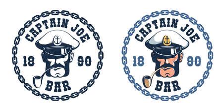 Sea captain retro icon template Иллюстрация