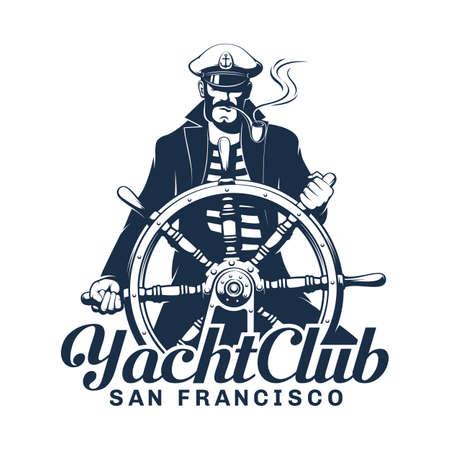 Yacht club icon with seaman helmsman