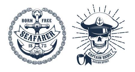 Ship Captain skull head - retro icon Иллюстрация
