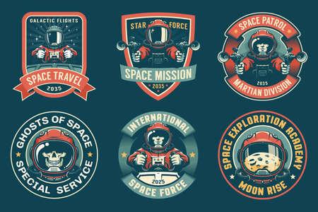 Spaceman badge vintage set