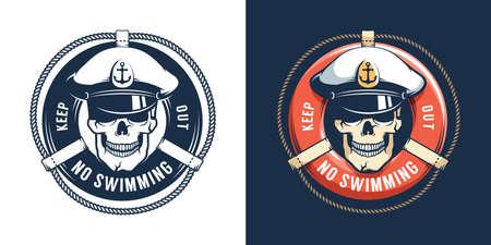 Lifebuoy and Captain Skull, no swimming logo.