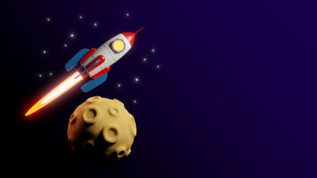 Rocket fly over the moon - 3d Flyer template.