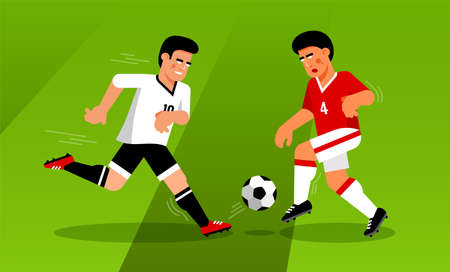 Fight for ball insoccer match between forward and defender