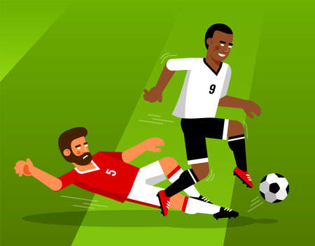 Football players fight for the ball Иллюстрация
