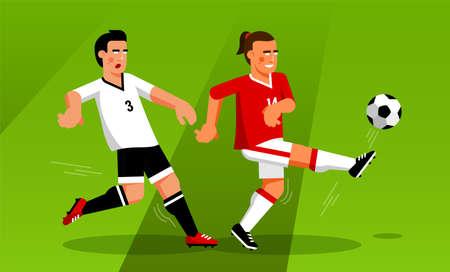 Soccer forward runs away from the defender Иллюстрация