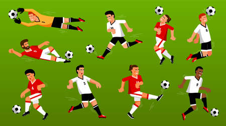 Set of playing soccer players with the ball