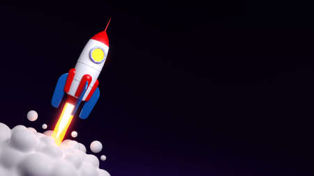 Rocked launch to the space - flyer template