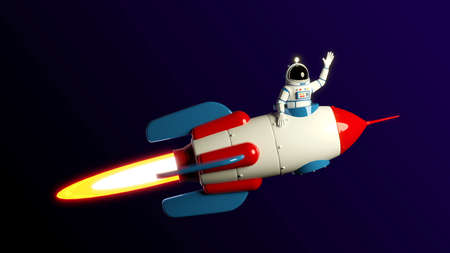 Astronaut is flying on a rocket.