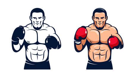 Boxer standing - retro vector illustration