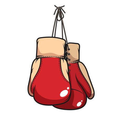 Pair of hanging boxing gloves Иллюстрация
