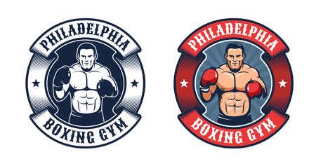 Vintage boxing badge Иллюстрация