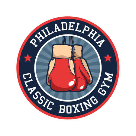 Retro boxing emblem with red boxing gloves Иллюстрация