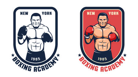 Boxing gym retro badge Иллюстрация