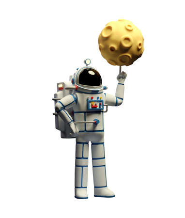 Isolated Spaceman in spacesuit twirls the moon on his finger
