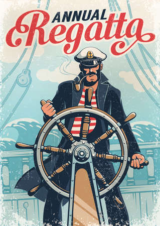 Captain sailor at helm of the ship Фото со стока