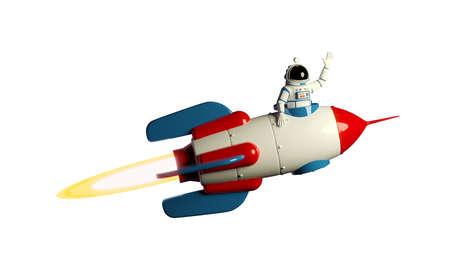 Spaceman in spacesuit on rocketship