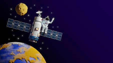 Astronaut flies on satellite space station around the earth