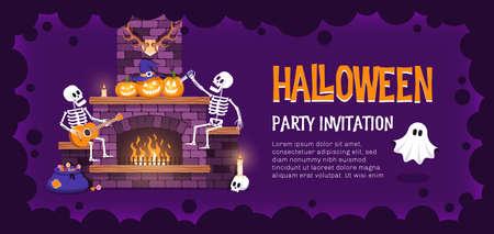 Halloween party ticket template Иллюстрация