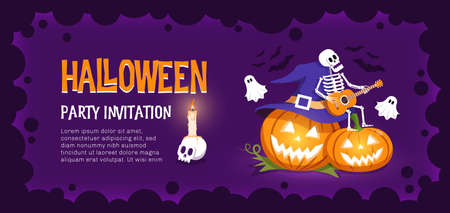Halloween invitation with funny pumpkins skeleton and ghosts
