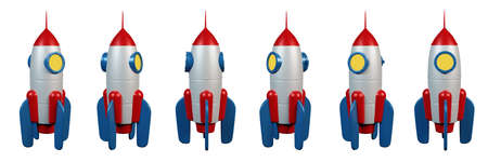3d cartoon rocket - view from different angles