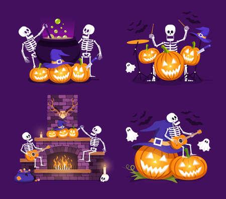 Set of Halloween compositions of pumpkins and skeletons Иллюстрация
