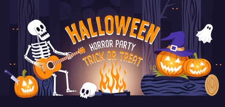 Halloween party horizontal banner with skeleton and funny pumpkins Иллюстрация
