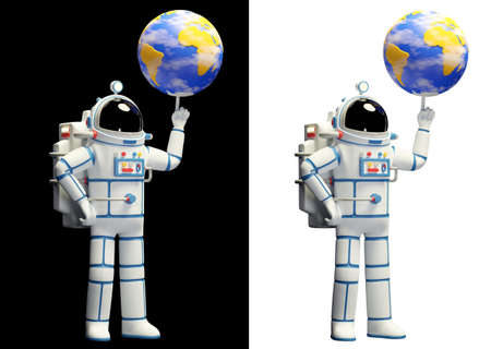Spaceman and planet earh. Astronaut in spacesuit Фото со стока
