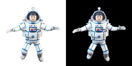 Cartoon 3d astronaut flies in open space and smiles