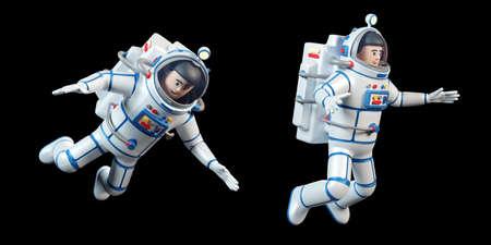 Astronaut in spacesuit. Cartoon 3d spaceman